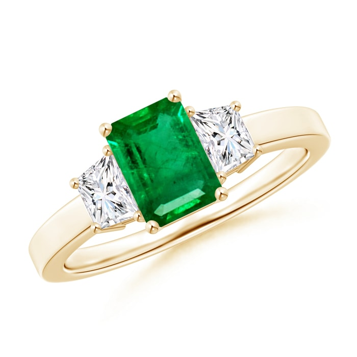 Angara Emerald-Cut Peridot and Trapezoid Diamond Three Stone Ring White Gold