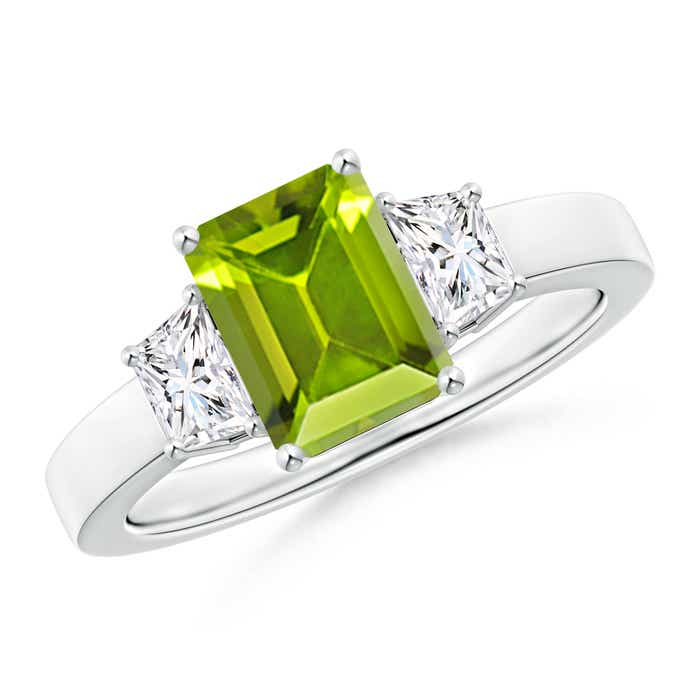 Angara Three Stone Peridot and Diamond Ring in 14k Rose Gold