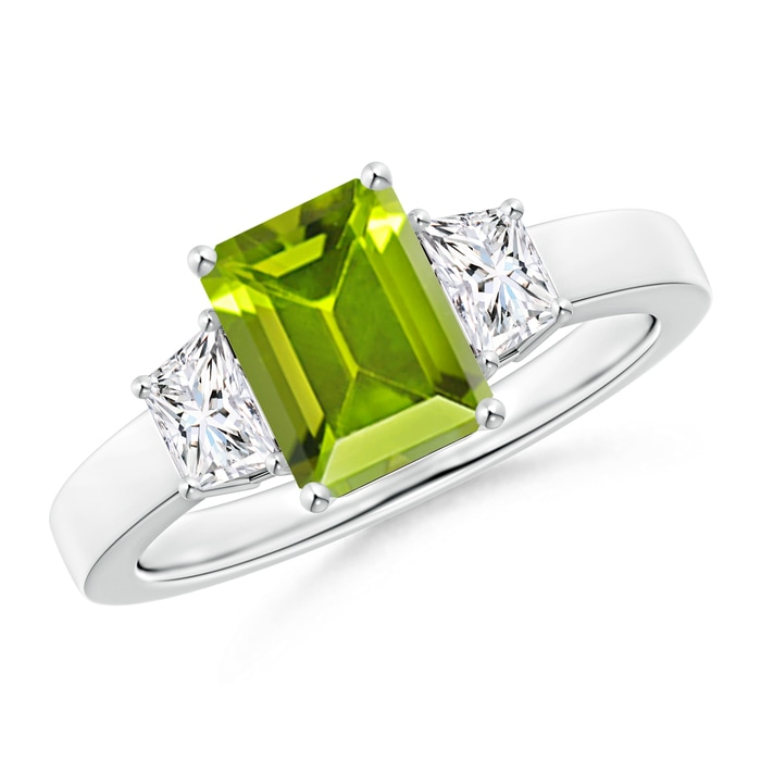 Angara Three Stone Peridot and Diamond Ring in 14k Rose Gold 6MQc6qwZV7