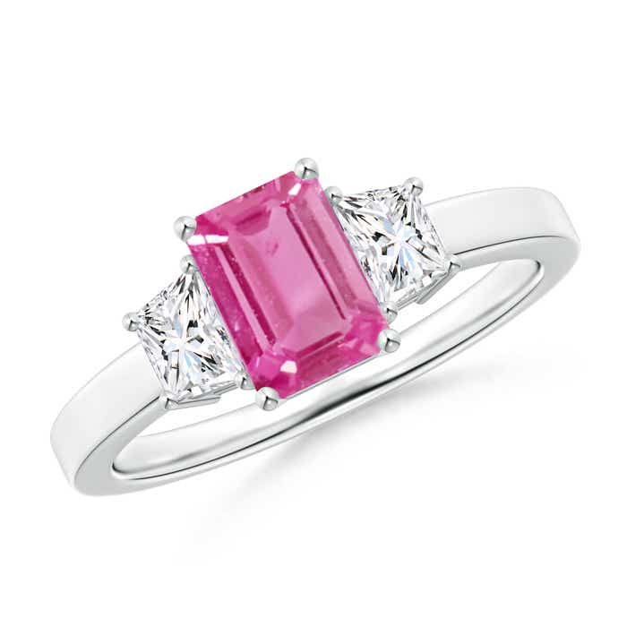 Angara Emerald-Cut Pink Sapphire Engagement Ring in White Gold T3cm51Z