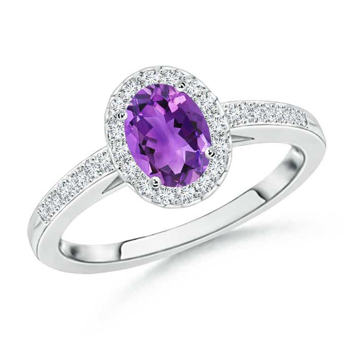 Angara Oval Amethyst Diamond Halo Engagement Ring in White Gold