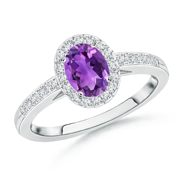 Angara Oval Amethyst Diamond Halo Engagement Ring in White Gold PrHTXcm