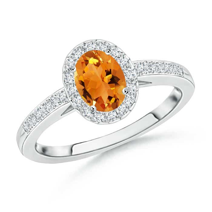 Angara Prong Set Oval Citrine Halo Ring with Diamond Accents in Platinum