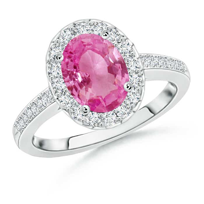 Angara Prong Set Oval Pink Sapphire Halo Ring with Diamond in 14k Rose Gold 5ZjqPDds