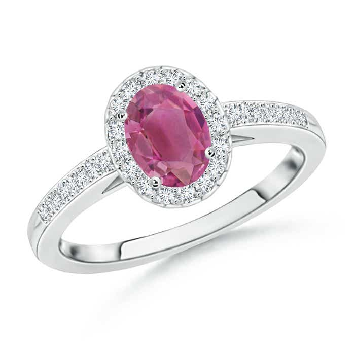 Angara Oval Pink Tourmaline Diamond Halo Engagement Ring in Platinum 86pcDse