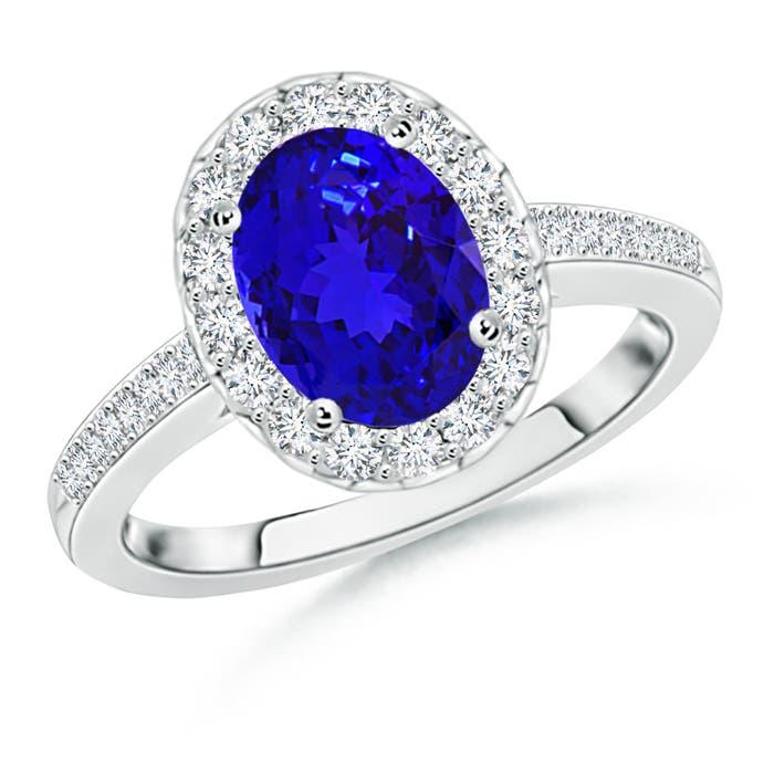 Angara Oval Tanzanite Halo Engagement Ring With Diamond Accents cxsZuykkM