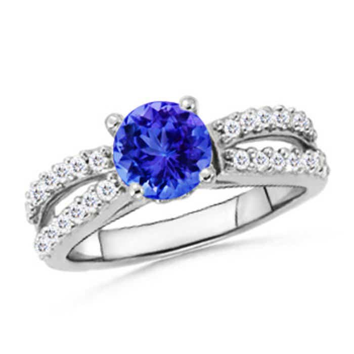 Angara Solitaire Tanzanite Crossover Ring with Diamond in White Gold 7siDU