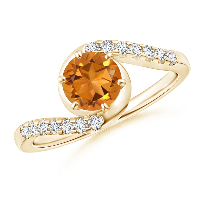 Angara Two Stone Citrine Bypass Ring with Diamonds in 14K Yellow Gold