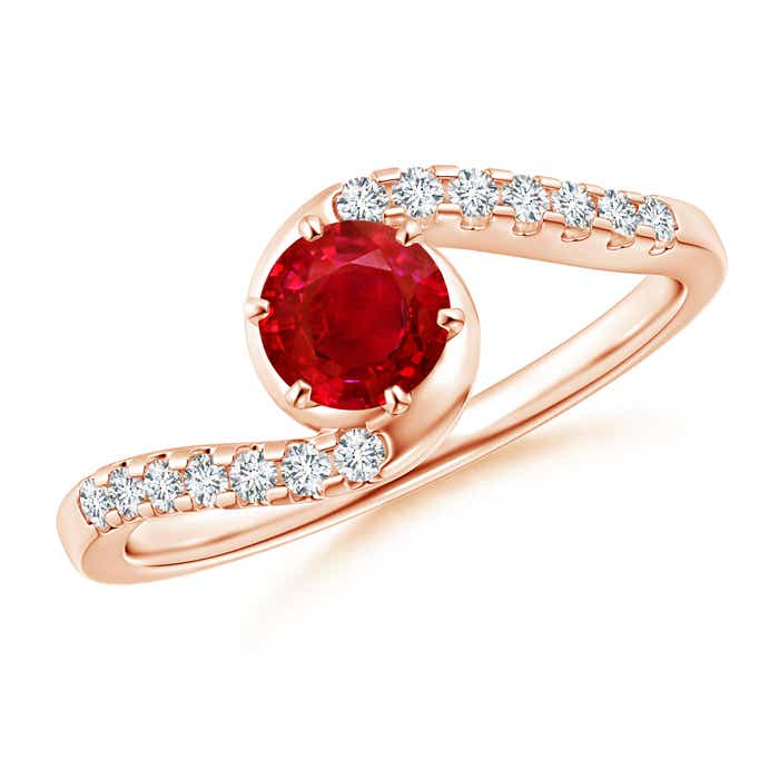 Angara Eight Prong Ruby Wedding Ring with Diamond Accents in 14k Yellow Gold 8Wd81R