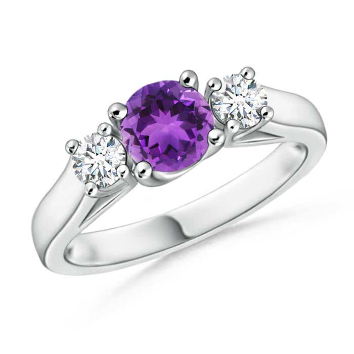 Angara Classic Prong Set Round Amethyst and Diamond Three Stone Ring