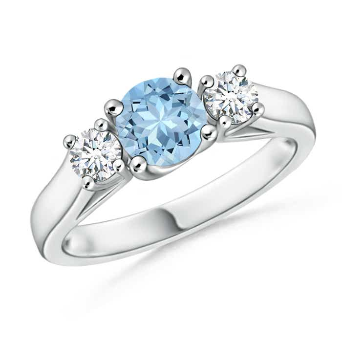 Angara Cathedral Three Stone Round Aquamarine Engagement Ring hErMDt