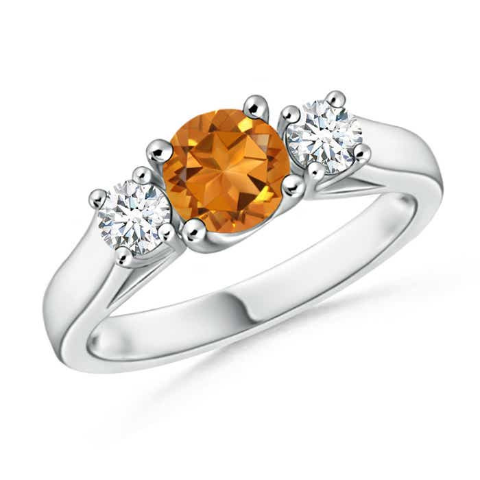 Angara Three Stone Citrine Diamond Ring in White Gold NsHsao