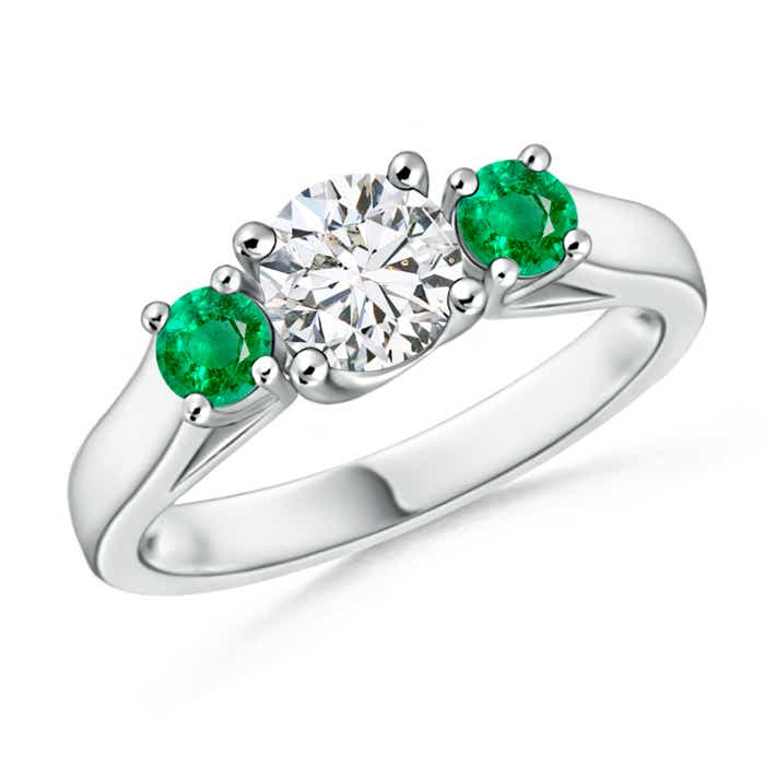 Angara Round Diamond Three Stone Ring with Emerald Side Stone in Platinum