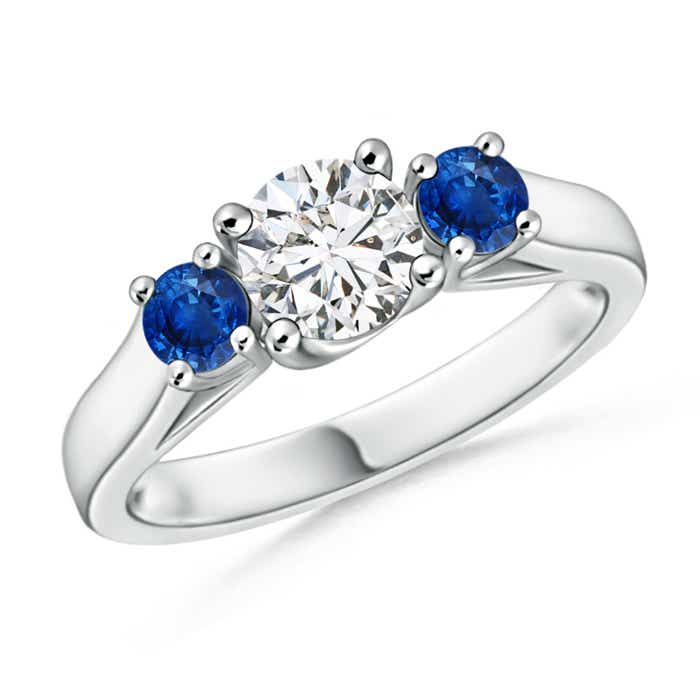 Angara Diamond 3 Stone Ring with Sapphires Side Stone