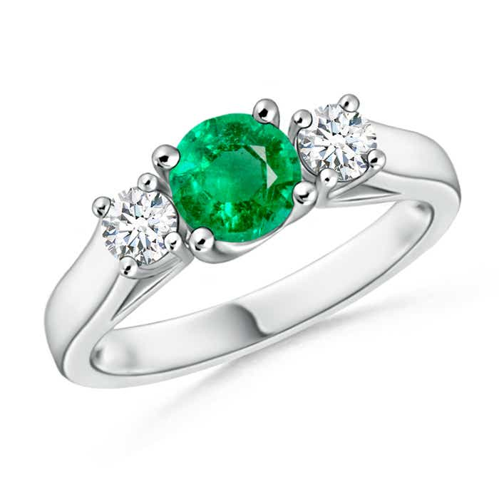 Angara Prong Set Emerald Three Stone Ring in White Gold
