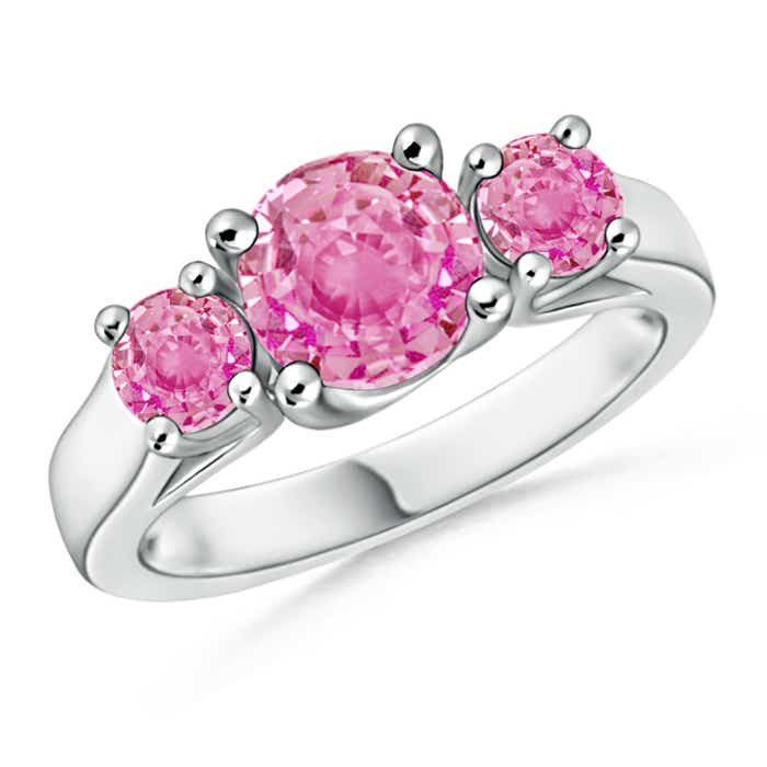 Angara Three Stone Pink Sapphire Diamond Ring in White Gold jtnL099