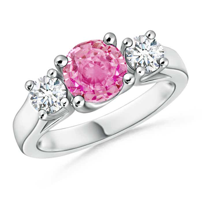 Angara Oval Pink Sapphire and Half Moon Diamond Three Stone Ring in Platinum 9NHeh