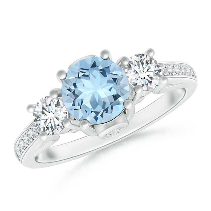 Angara Classic Prong Set Round Aquamarine and Diamond Three Stone Ring mktAHtVw