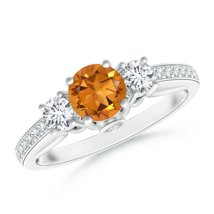 Angara Prong Set Round Citrine and Diamond Three Stone Ring in 14K White Gold wQAy1CIO