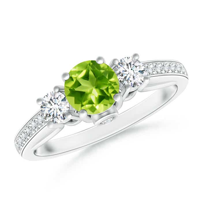 Angara Three Stone Peridot and Diamond Ring in Platinum