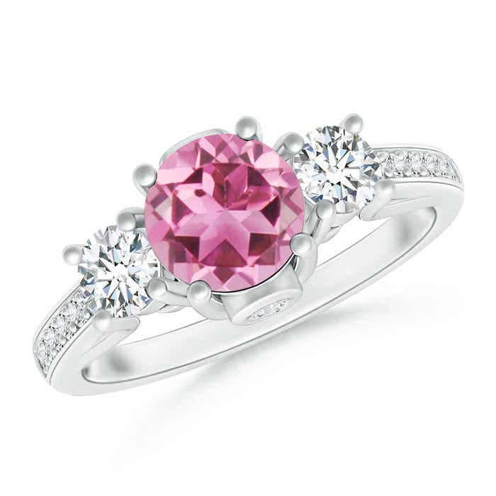 Angara Prong Set Pink Tourmaline Three Stone Ring in Platinum 8iDuPqqj4w