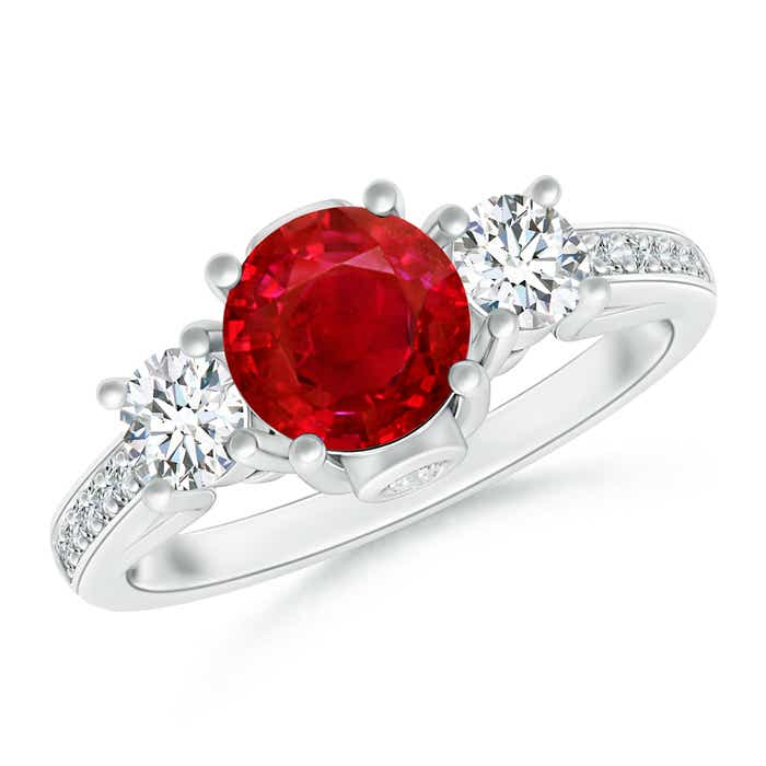 Angara Classic Bezel-Set Ruby and Diamond Three Stone Ring in Rose Gold AuVVtc9