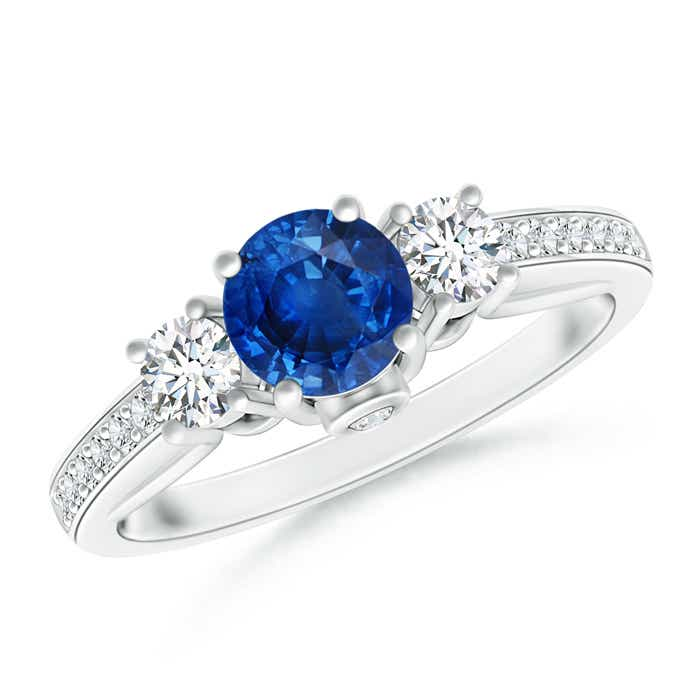 Angara Prong Set Round Blue Sapphire and Diamond 3-Stone Ring in Rose Gold A7FRBIZ7E