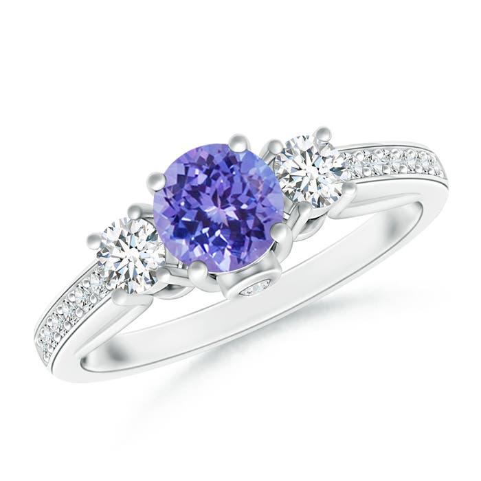 Angara Prong Set Round Tanzanite and Diamond Three Stone Ring in Platinum HiAgT2