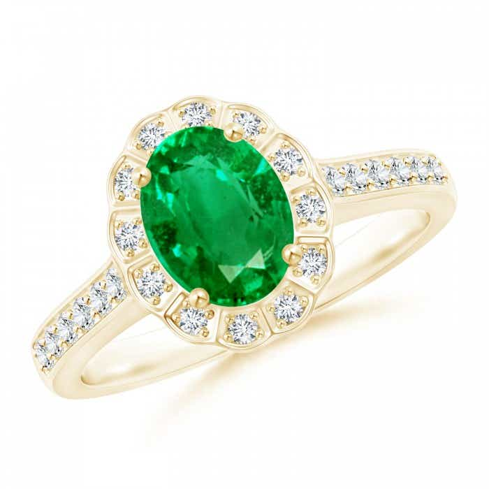 Angara Vintage Inspired Oval Emerald Halo Ring in Platinum