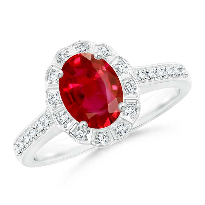 Angara Vintage Inspired Oval Ruby Halo Ring in 14K White Gold e3BdVvbBDB