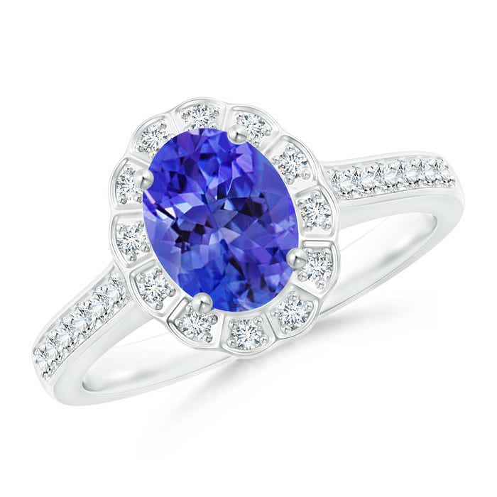 Angara Oval Tanzanite and Diamond Floral Vintage Ring in Rose Gold