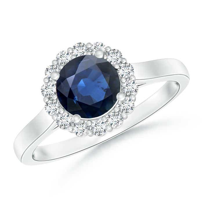 Angara Bezel Blue Sapphire and Diamond Vintage Inspired Ring in White Gold Pn3xX