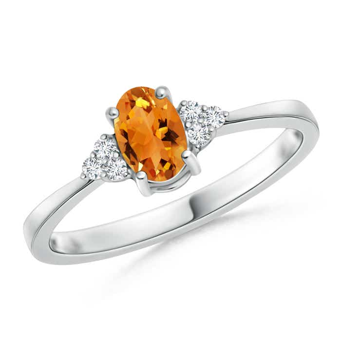 Angara Solitaire Oval Citrine Ring with Trio Diamond Accents in White Gold x6gneMh23