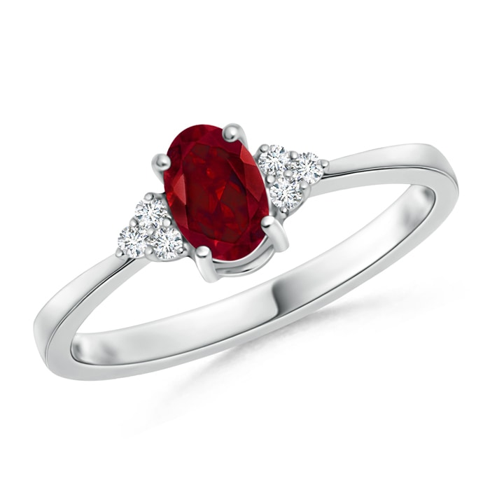 Angara Tapered Shank Garnet Solitaire Ring with Diamond Accents zGsnbQ