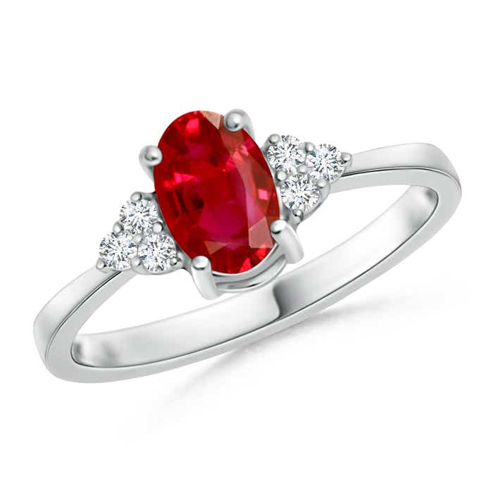 Angara Solitaire Oval Ruby Tapered Shank Ring with Diamond in 14k White Gold NC5215x