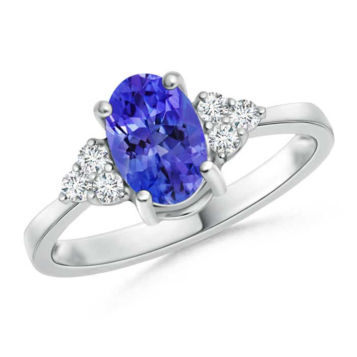 Angara Solitaire Oval Tanzanite Promise Ring with Diamond in Platinum KJC7W9fsf