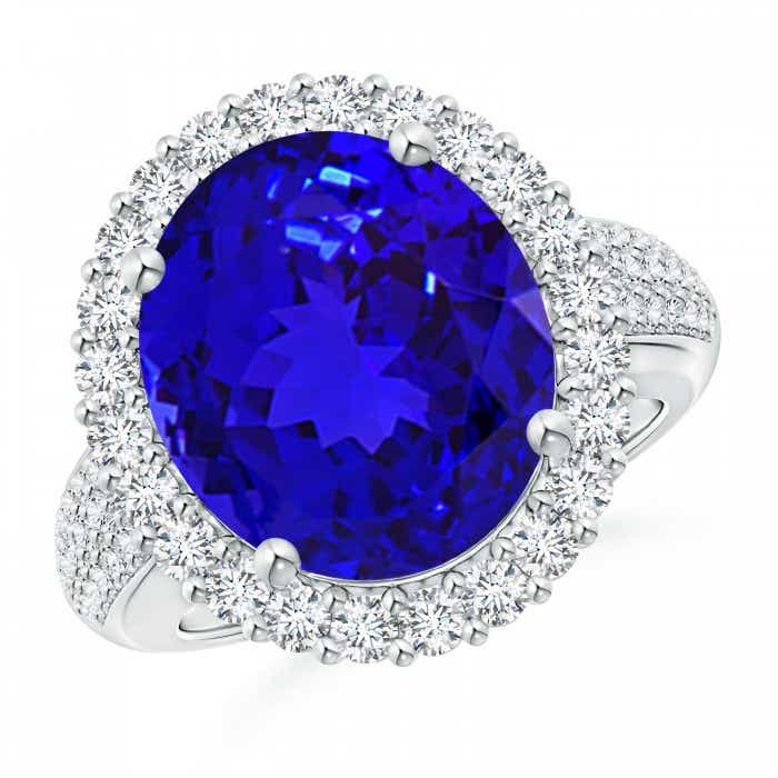Angara Tanzanite and Diamond Cocktail Ring in White Gold 25T5us