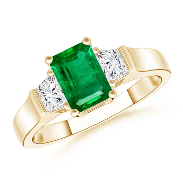 Angara Emerald-Cut Emerald and Trapezoid Diamond Three Stone Ring doZPD