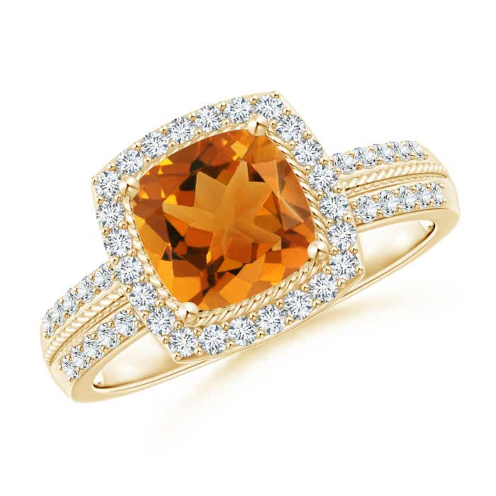 Angara Vintage Cushion Citrine Halo Ring with Diamond Halo in 14K White Gold