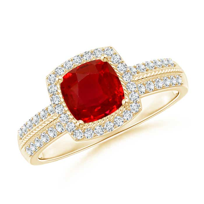 Angara Cushion Ruby Solitaire Engagement Ring in 14k Yellow Gold bwCR3oJ