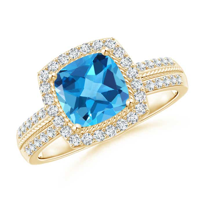 Angara Cushion Swiss Blue Topaz and Diamond Ring in Yellow Gold