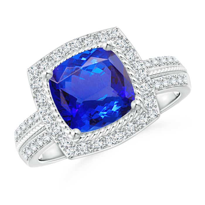 Angara Emerald Cut Tanzanite Diamond Halo Engagement Ring in Platinum cIlLWZbm