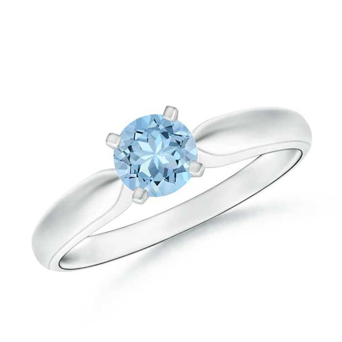 Angara Classic Round Aquamarine Solitaire Ring in Yellow Gold LNZkPTc