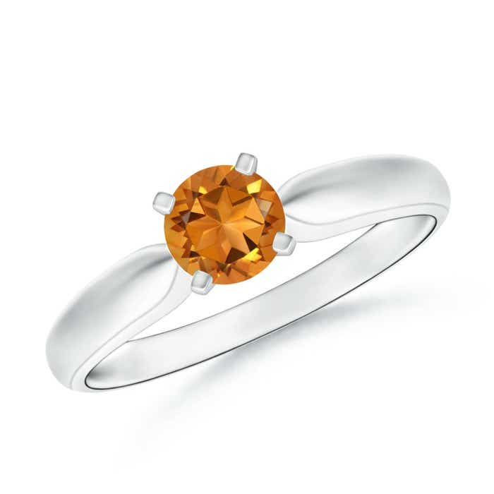 Angara Tapered Shank Citrine Solitaire Ring in 14K White Gold