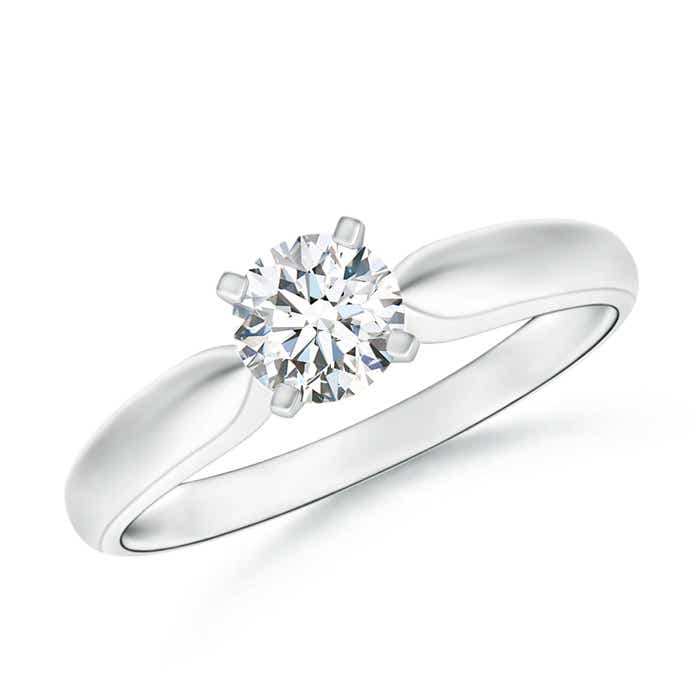 Angara Round Moissanite Solitaire Ring in White Gold OTTPfQAOJ