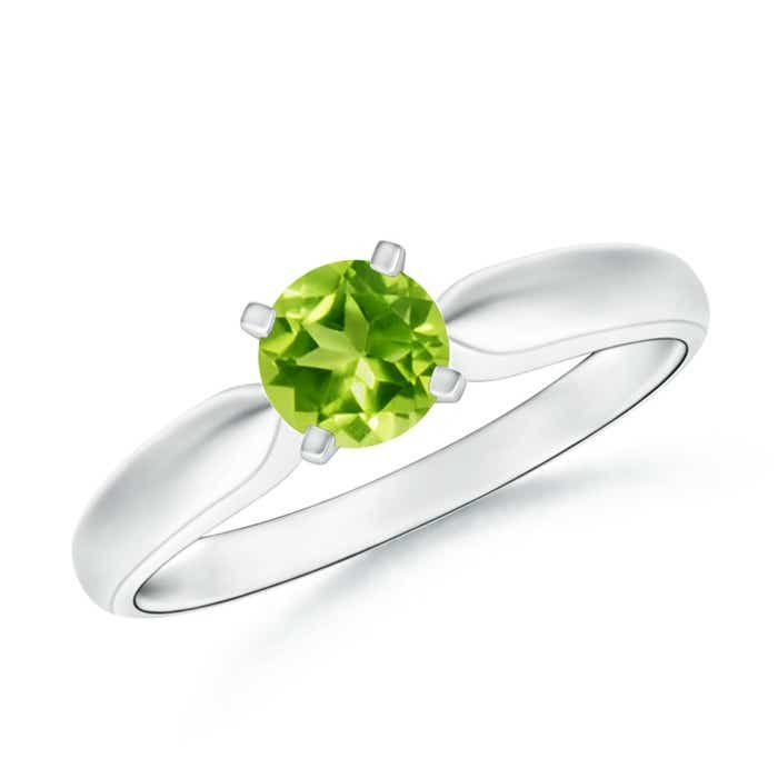 Angara Tapered Shank Peridot Solitaire Ring with Diamond Accents rz68MDzfWz