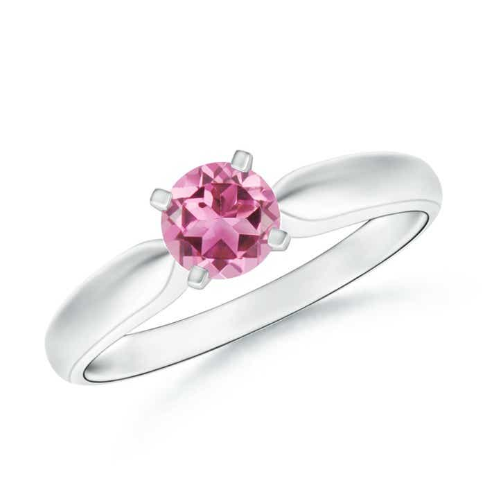 Angara Prong Set Round Pink Tourmaline Diamond 3-Stone Ring in Yellow Gold fbCQbV
