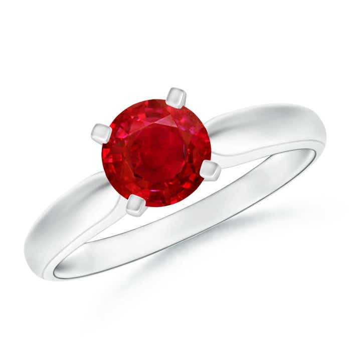 Angara Round Ruby Ring in Platinum QsTr2sqe