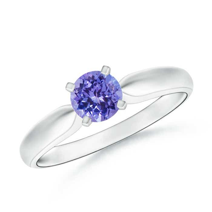 Angara Solitaire Tanzanite Tapered Shank Ring with Diamond in Platinum PhZMMWhVe