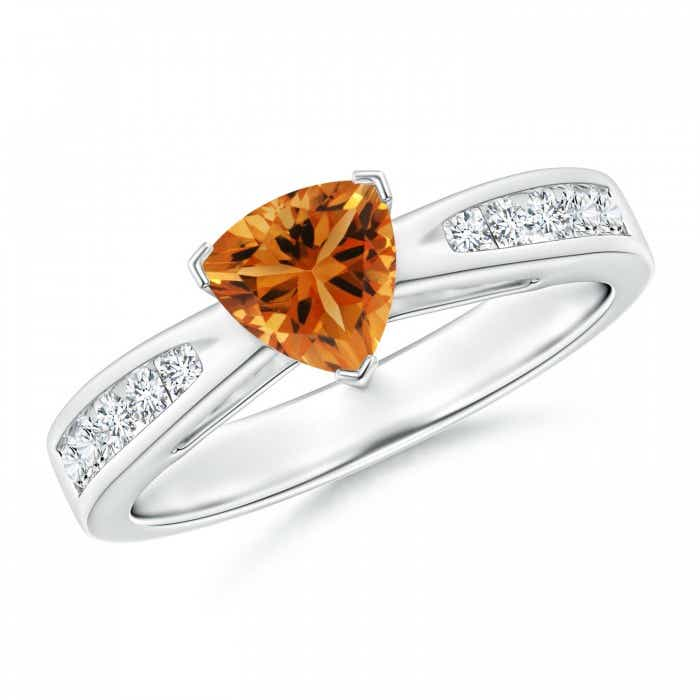 Angara Citrine Solitaire Ring with Diamond in 14k White Gold V8gmg